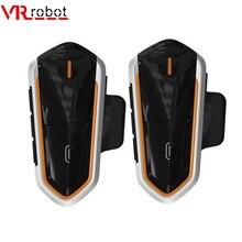 цена на VR robot 2PCS Motorcycle Intercom Bluetooth Stereo Moto Helmet Intercom Headset Handsfree FM Wilress Interphone intercomunicador