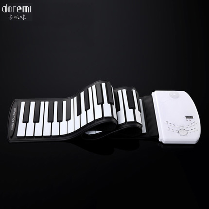 DoReMi Smart Volume Electronic Piano Rechargeable Portable 61 Keys Professional Folding Keyboard Beginner Silicone Piano S-218 doremi intelligent professional hand rolled electronic piano 49 keys children silicone folding portable piano s2049