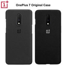 100% الرسمية الحجر الرملي سيليكون الغطاء الخلفي ل OnePlus 7 واقية اكسسوارات أصلية Karbon النايلون الوفير قذيفة