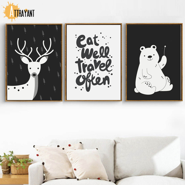 Cartoon Black White Deer Bear Quotes Wall Art Canvas Painting Nordic Posters And Prints Wall Pictures Kids Room Nursery Decor