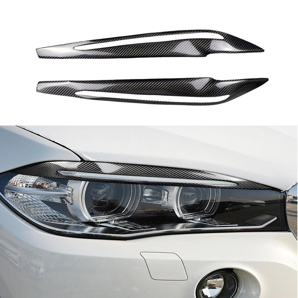 2 pièces/ensemble fibre de carbone voiture phare sourcils couverture décoration autocollants autocollants Automobile accessoires pour BMW F15 X5 2014-2017
