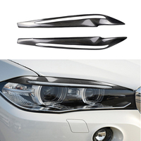 2PCS/Set Carbon Fiber Car Headlight Eyebrows Cover Decoration Stickers Decals Automobile Accessories For BMW F15 X5 2014 2017