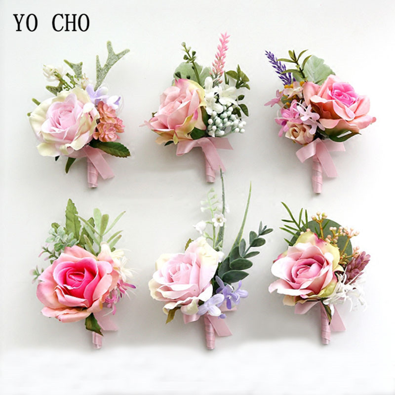 YO CHO Boutonniere Wedding Corsages And Boutonnieres Pink Roses Silk Flowers Boutonnieres Groom Men Marriage Wedding Accessories