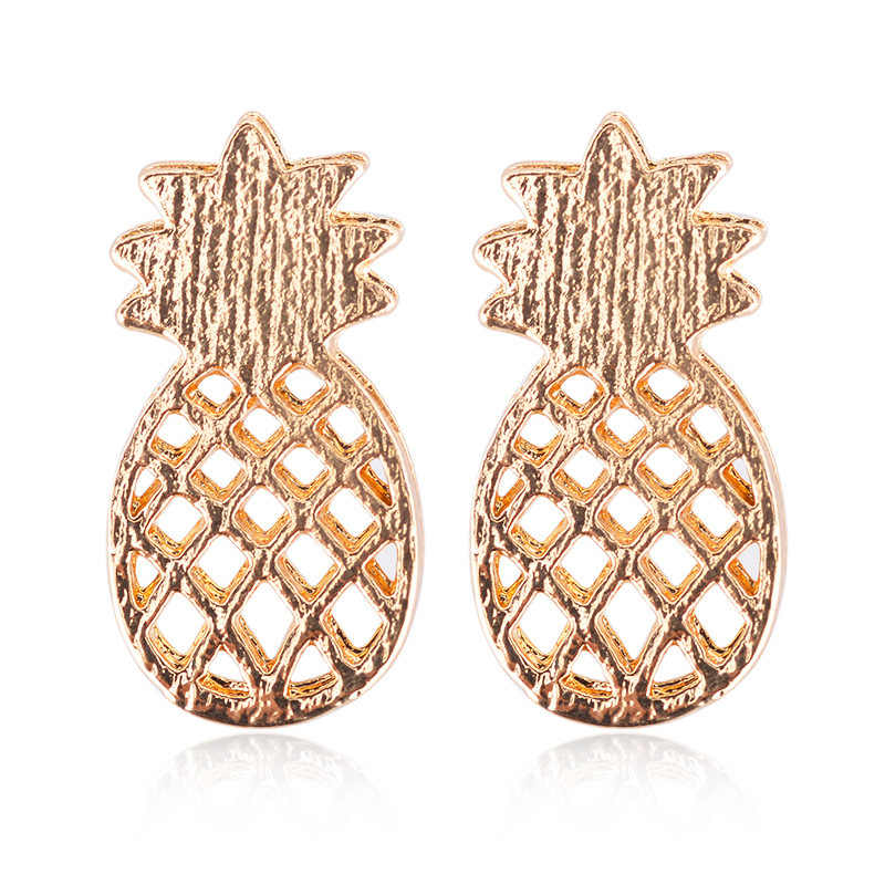 Women Gold/Silver color Stainless Steel Cute Stud Earrings Girls Animal Pineapple cactus Cat Earrings Minimalist Jewelry