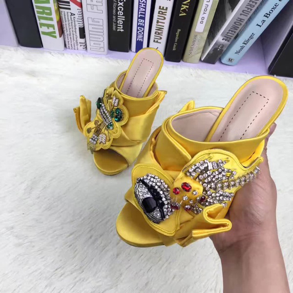 Summer satin Crossover Sandal Mules big Butterfly Knot  and bead crystal decor thin High Heel Sandals Womens Slipper Salto Alto