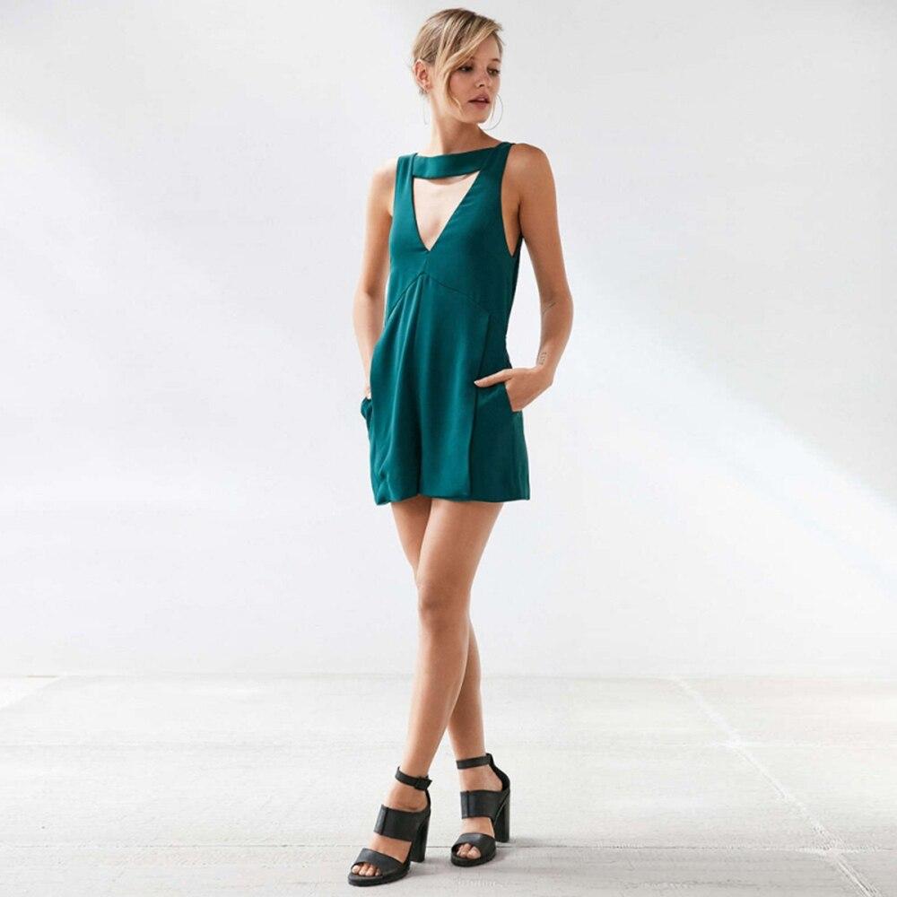 45da0e1516 IRISIE Apparel Green Sexy Backless Female Jumpsuit Romper Casual V ...