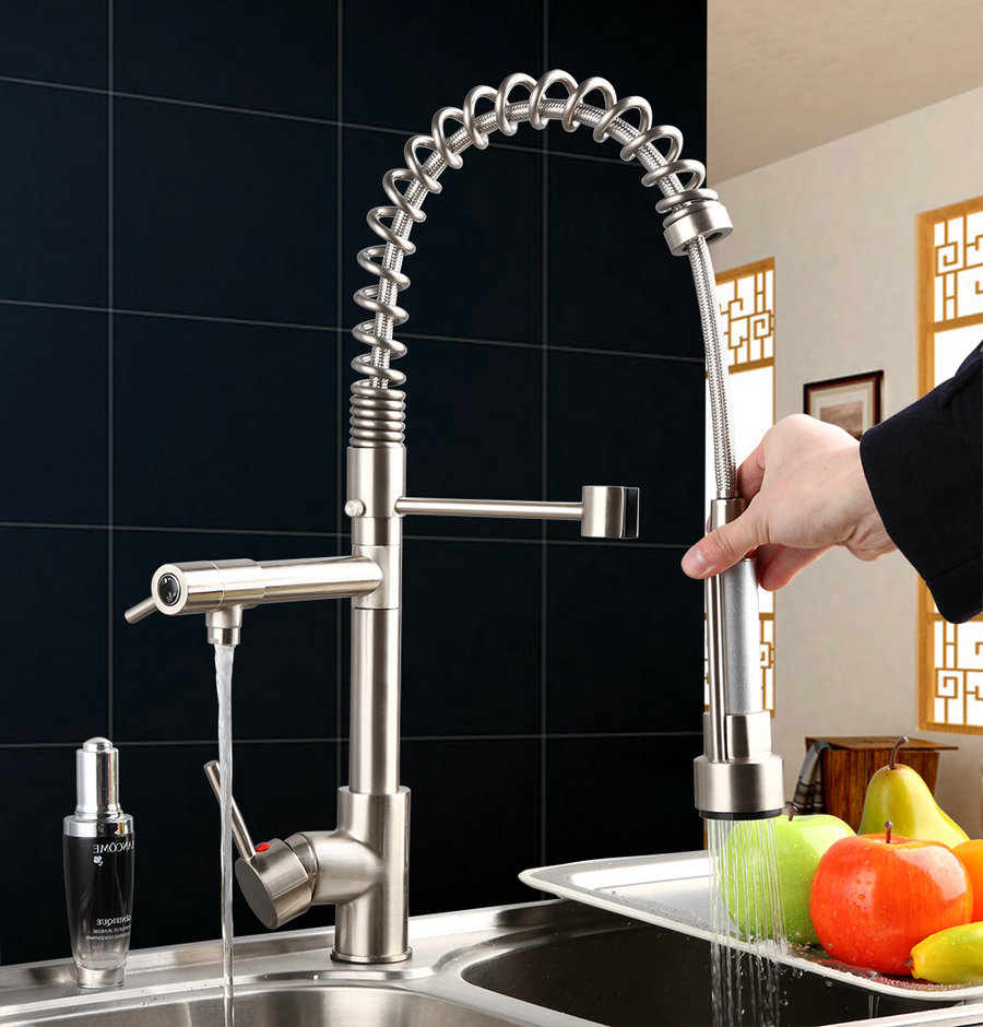 Hot sale series Pull Up and Down Spray Kitchen Sink Brass Mixer Tap Brushed Faucet JN8525
