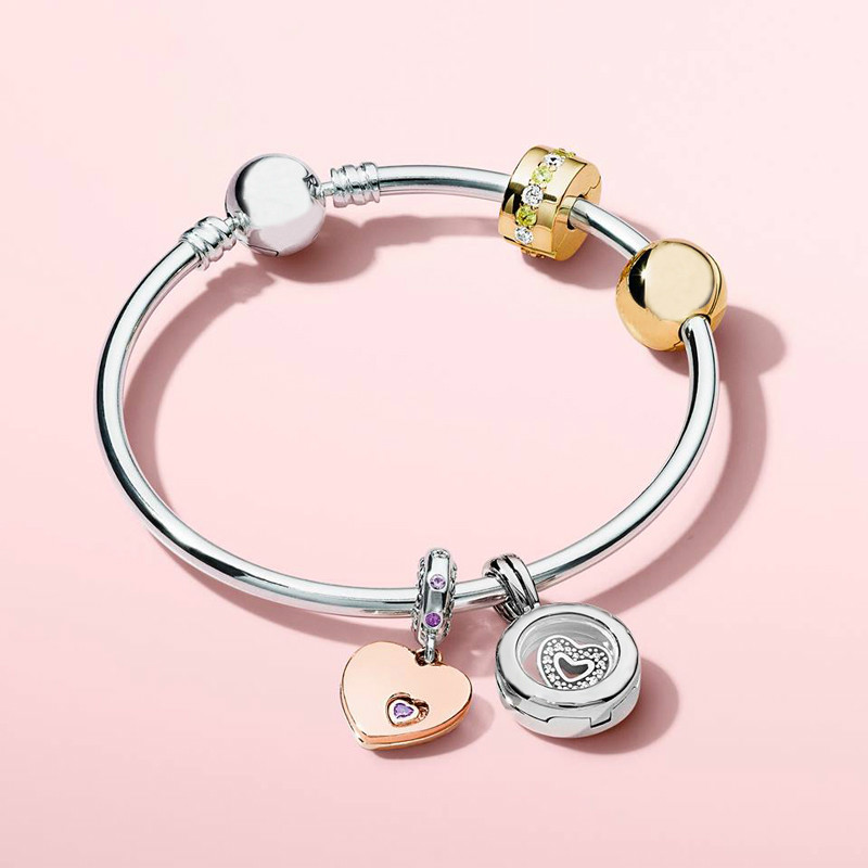 купить 925 Sterling Silver 2018 Spring New Love Gift Gift Set Ornament DIY String Ornaments Bracelet Female Merry Christmas Jewelry по цене 5371.8 рублей