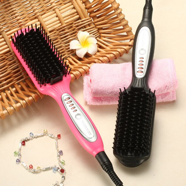KIKI electric quick heating Hair Straightener brush  hair styling tool for any hair types Ergonomic no-slide handle combs