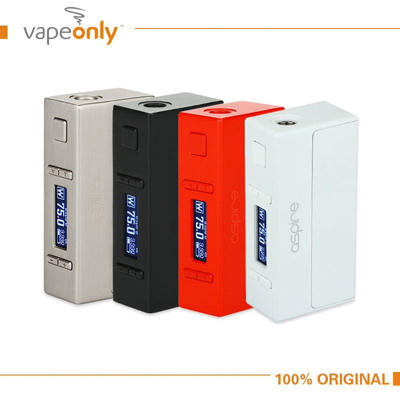 Original Aspire NX75 Box MOD NO 18650 Battery Electronic Cigarette Firmware Upgrade VW/VV/TC Modes nx75 mod Vape Zinc Alloy original electronic cigarette smoant charon ts 218w box mod mechanical mod five heating modes for different needs 18650 vape mod