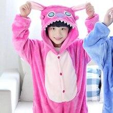 Dinosaur Stitch Children Pajamas Flannel Cartoon Animal Kid's Clothes Children's Household Clothing Winter Autumn