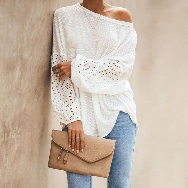 Elegant Solid Floral Hollow Out Blouse Shirt Women Lantern Sleeve White Tops Spring Blouse Casual Loose Blusas feminin Plus Size 2