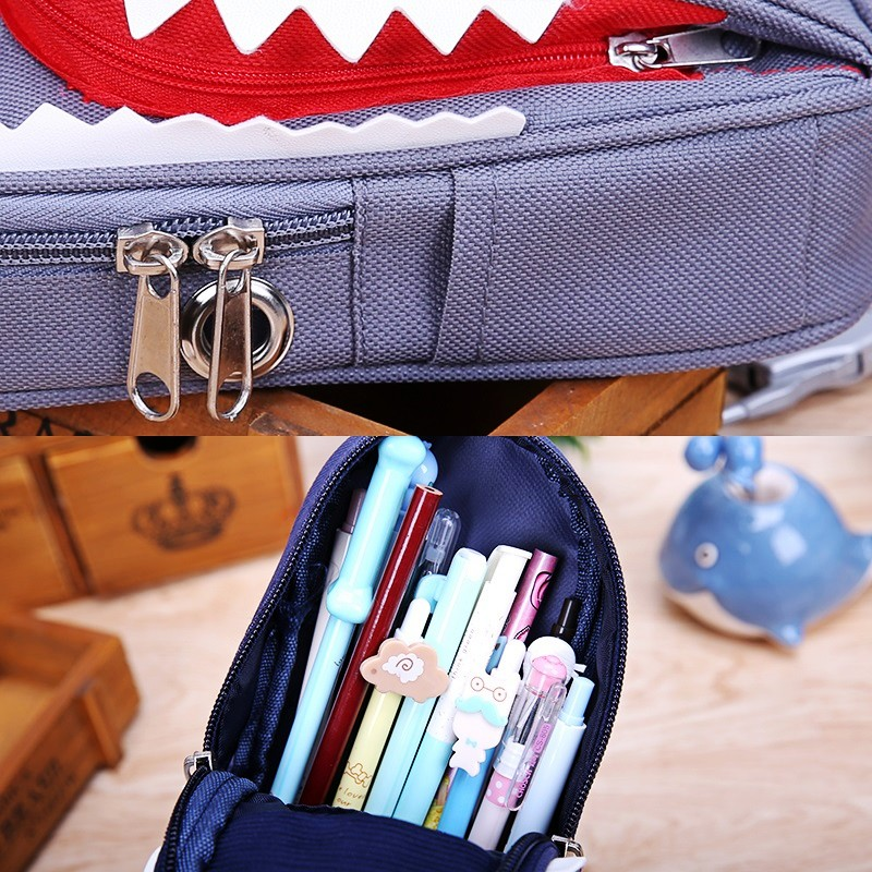 Image 5 - Super Large Capacity Creative Shark Canvas School Pencil Case Pencil Bag Pen Bag with Code Lock-in Pencil Cases from Office & School Supplies