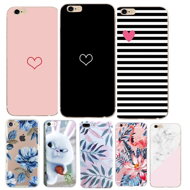 new styles 5b229 cc3aa Luxury 3D Case Of Love Heart On Print For Apple iPhone 5 5S 6 6S 7 8 Plus X  Phone Cases Cartoon Transparent Flower Cover Coque-in Fitted Cases from ...