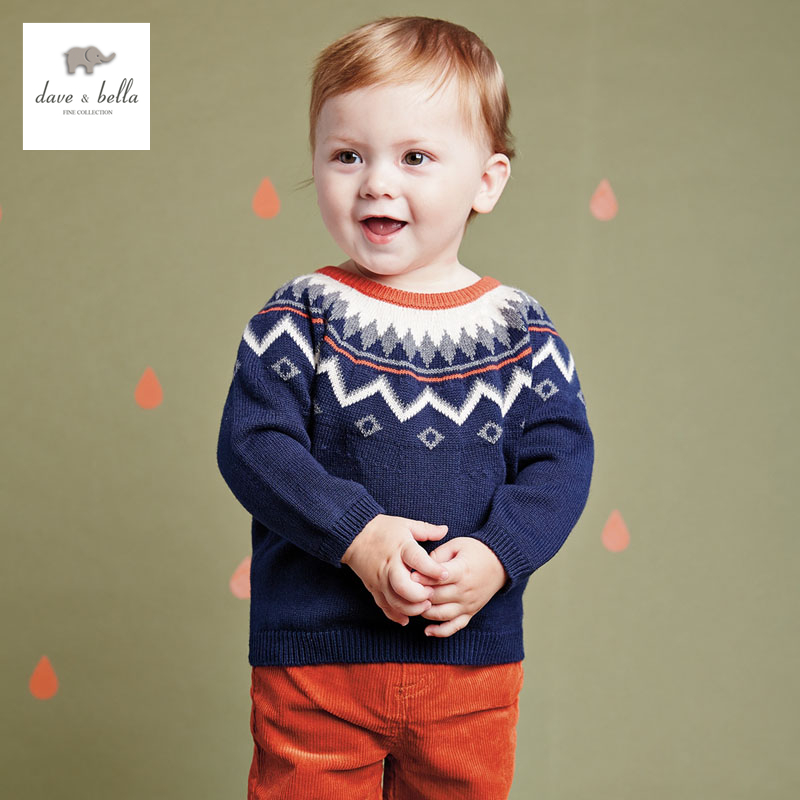 DB2850 dave bella  autumn boys sweater infant clothes baby jacquard sweater baby england style sweater boys fashion sweater db2315 dave bella autumn winter baby boy turtleneck sweater infant clothes toddle cotton wool sweater boys plum sweaters
