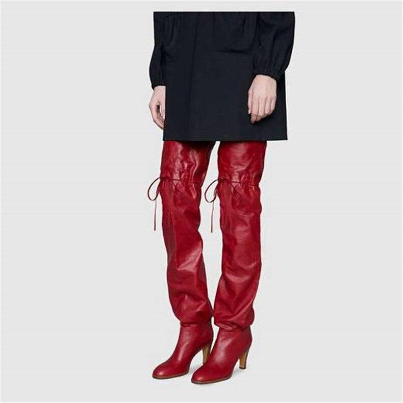 Botas Elástico Alto Grueso Rodilla De Mujeres La Tacón Las Otoño Encima Por 2019 Rojo Más Nuevo Original FwZS6Pq