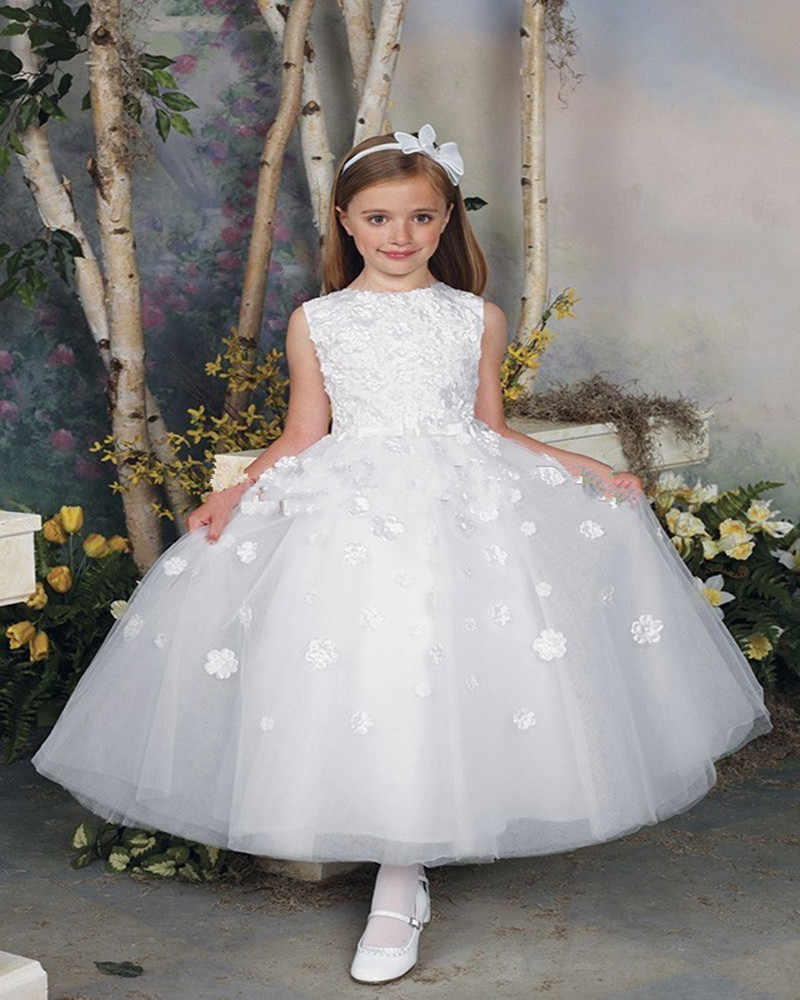 d0036ff41567 ... White First Communion Dresses 2016 Sleeveless Appliques Ball Gown Long  Flower Girls Dress Vestido De