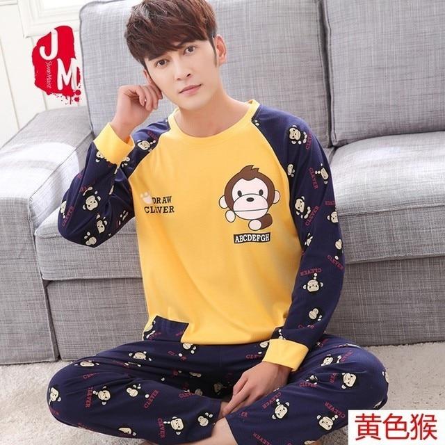 fe0efe409e M-5XL Men Pajama Set Spring And Autumn Long Sleeve Cotton Man Pyjamas  cartoon Stripe