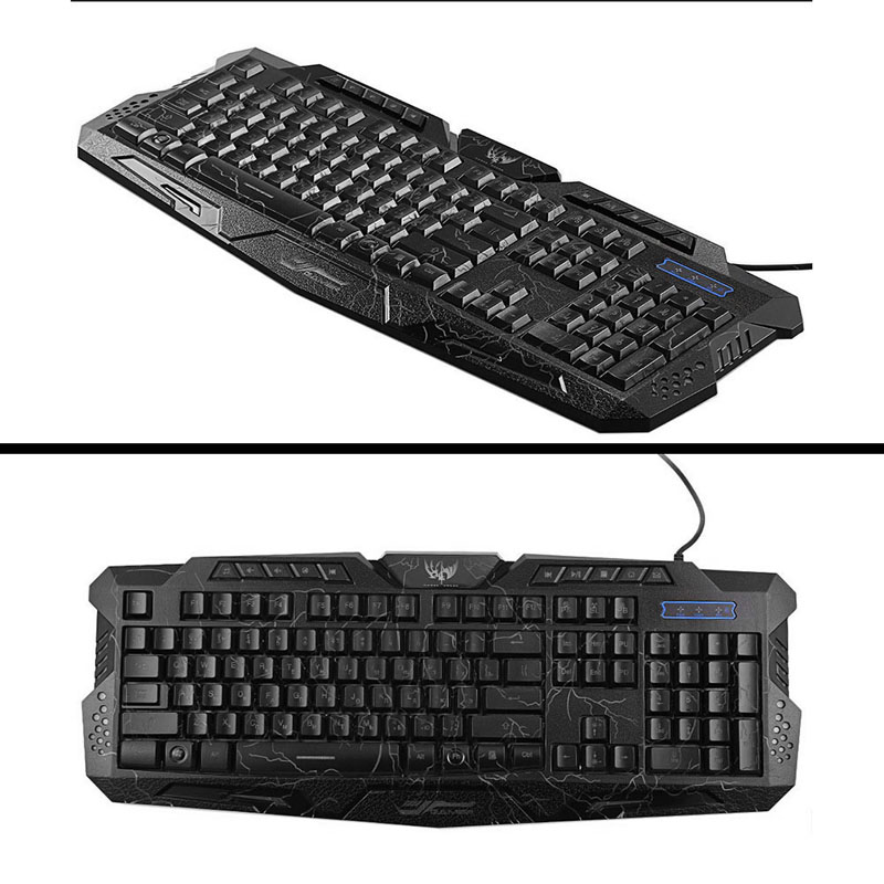 P Adjustable Crack Red/Purple/Blue Backlight LED Pro Gaming Keyboard USB Wired Powered Full N Key For LOL Computer Peripherals