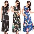 Novo 2016 as mulheres se vestem o-pescoço sem mangas vestidos longos boêmio floral impressão vestidos de fasta vestido de moda de verão para as mulheres