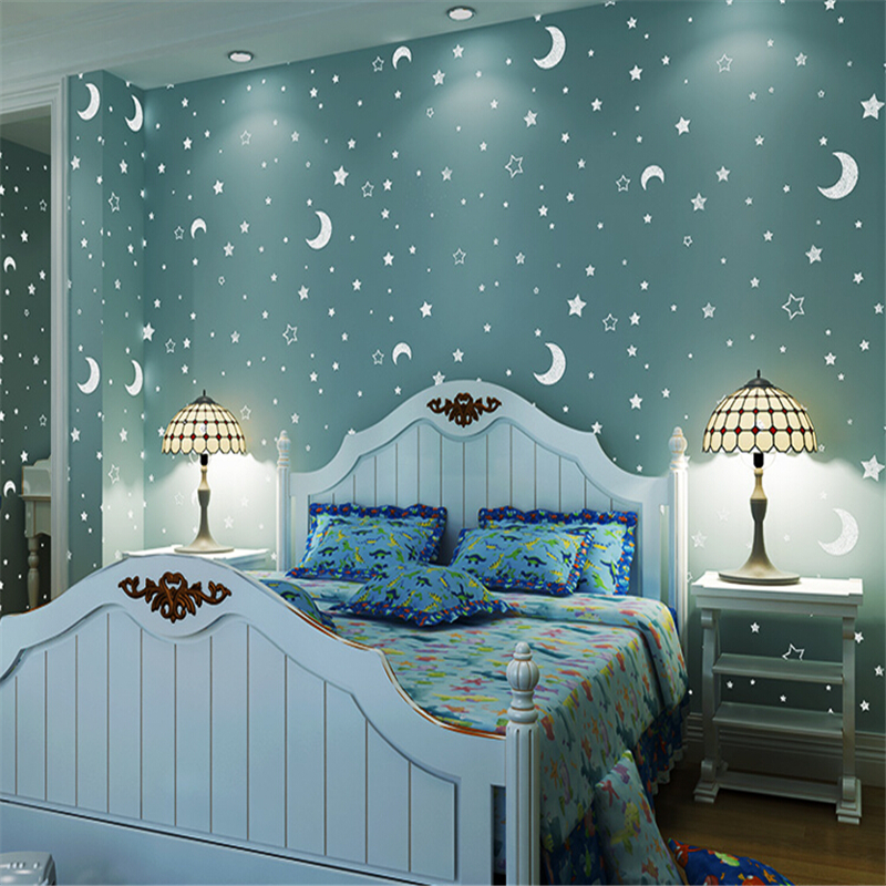 beibehang Fluorescent luminous stars children's room empty Papel de parede 3d wallpaper for walls rustic wall paper roll behang beibehang papel de parede 3d drag wallpaper for walls decor embossed 3d wall paper roll bedroom living room sofa tv background