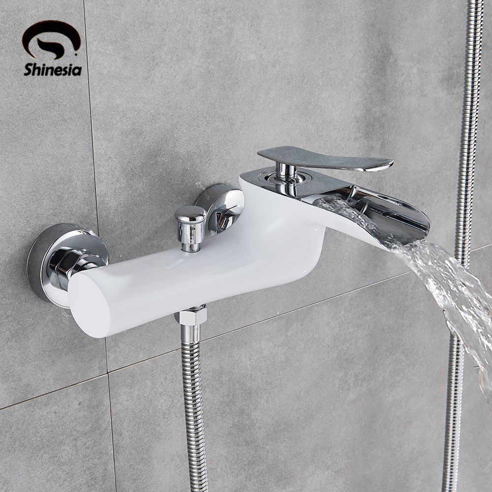 White Chrome Wall Mount Bathroom Tub Faucet Single Handles Mixer Tap with Hand Shower Sprayer 5