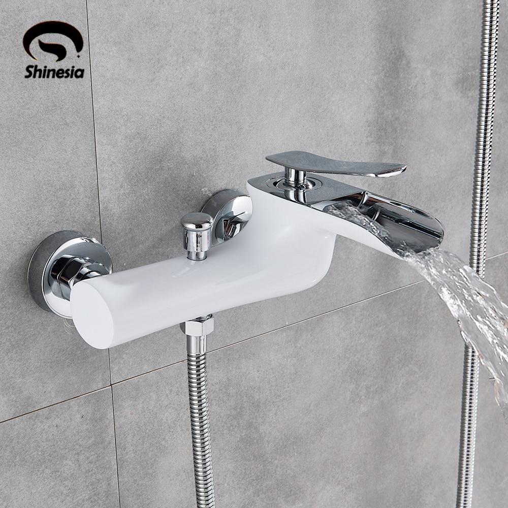 白クロームウォールマウント浴室浴槽の蛇口シングルハンドルミキサータップハンドシャワースプレーで 5 のモデルホットスイッチと冷水  グループ上の 家のリフォーム からの シャワー 蛇口 の中 1