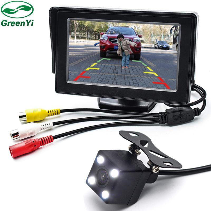 Prix pour 2in1 LED Night Vision Voiture Rétroviseur Caméra de Recul De Sauvegarde Parking Assistance 4.3 pouce TFT LCD De Voiture Moniteur Caméra 2 Vidéo entrée