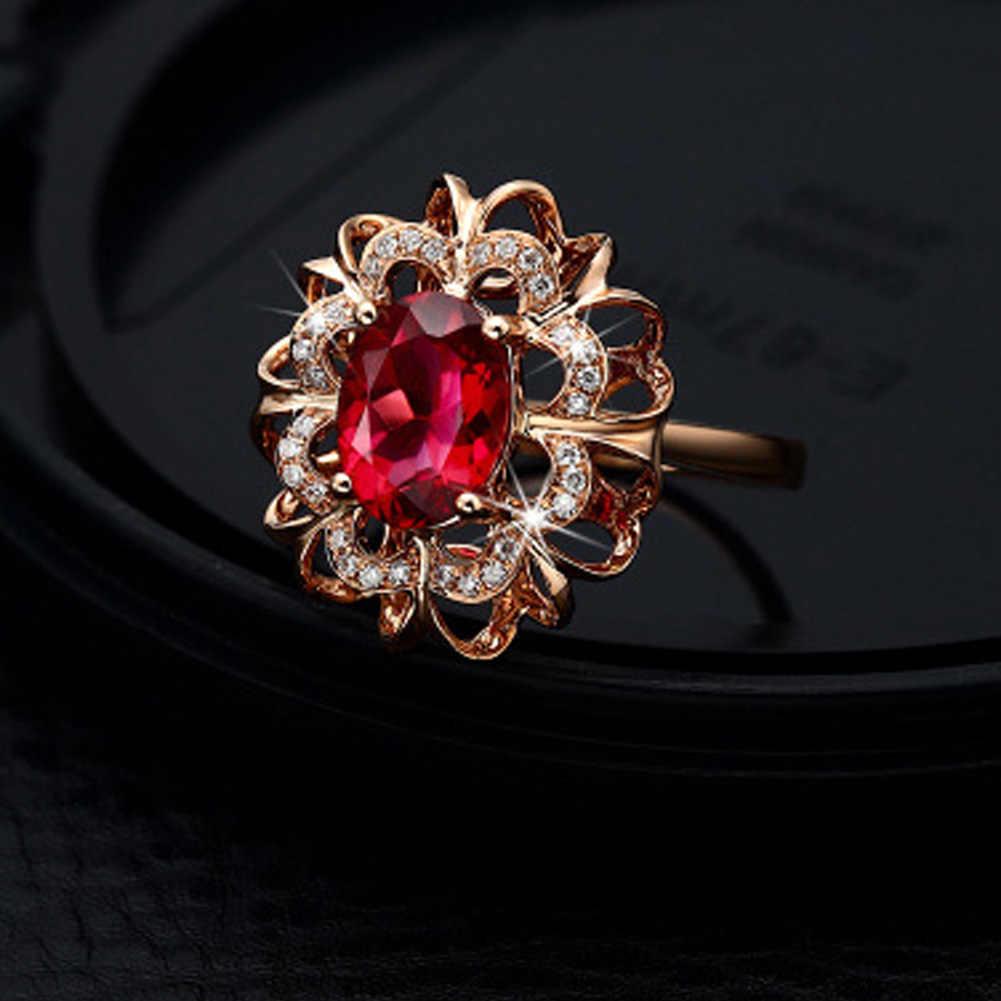 2017แฟชั่นเครื่องประดับแหวนหินสีแดงดอกไม้แหวนออกแบบสำหรับผู้หญิงเจ้าสาวอุปกรณ์จัดงานแต่งงาน