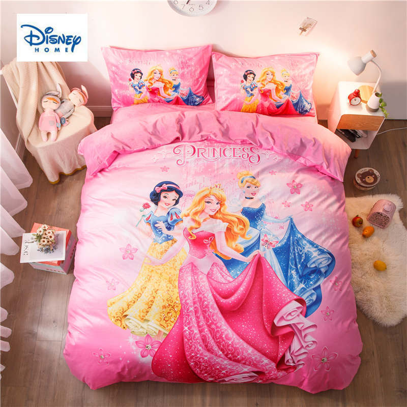 Pink Disney Princess Bedding Set Twin Size Comforter Duvet Covers For Girls Bed Sheets Bedroom Decor Full Queen Cotton 500tc 3d Bedding Sets Aliexpress