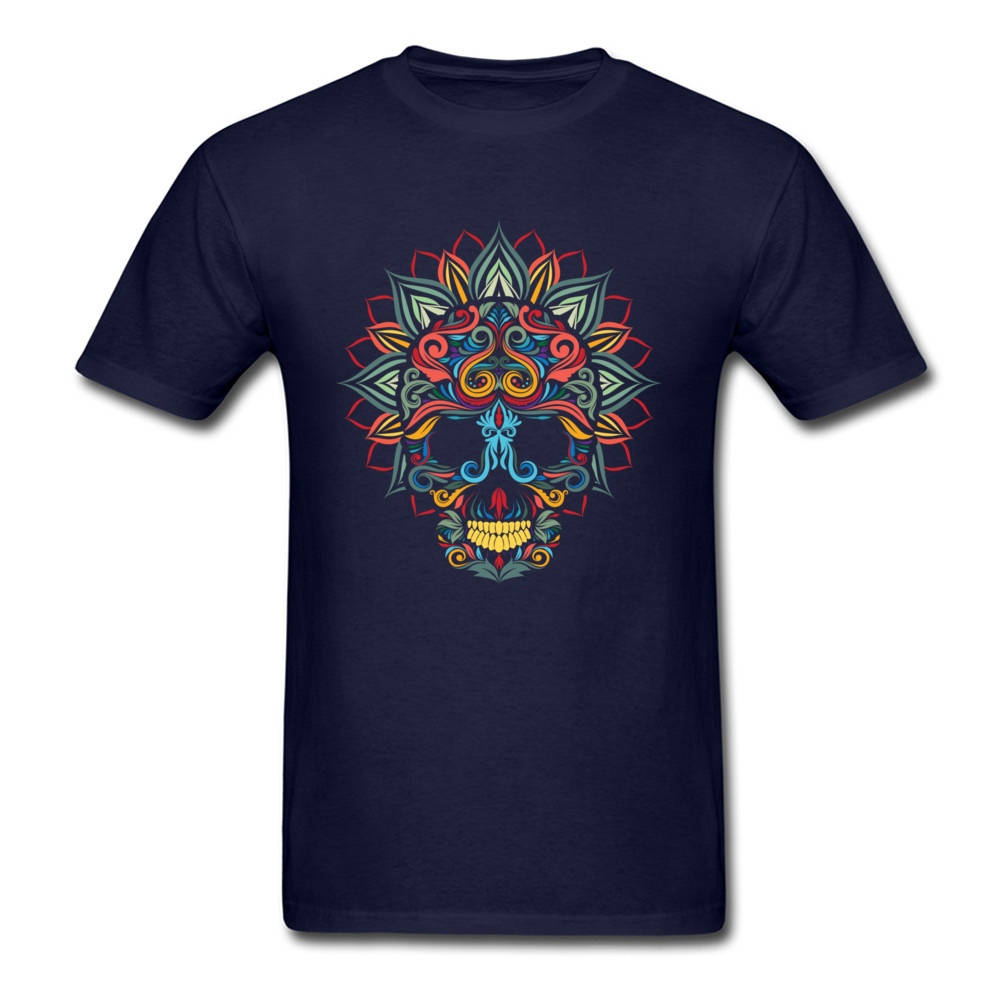full color skull ornamental Cotton Summer Tops Shirts Funky Short Sleeve Boy T-Shirt Design Father Day Tee Shirt O-Neck