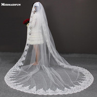 3 M Long 3M Width Vintage Style Cathedral Bridal Veil Long Lace Appliques One Layer Wedding