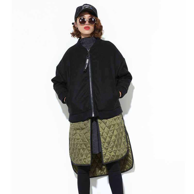 SuperAen Europe Women Parkas Coat 2017 Winter New Loose Bat Sleeves Fashion Parkas Coat Cotton Wild Casual Zipper Women Clothing factory outlets 2014 new winter in europe and america women british style stitching cotton quilted jacket short parkas coat