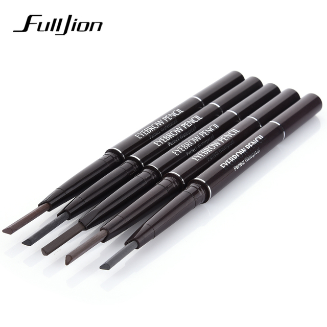 Fulljion Double-Ended Rotatable Eyebrow Pencil with Mascara Brush Waterproof Long Lasting Eyebrow Pen Eyebrow Stencil Makeup Set 4