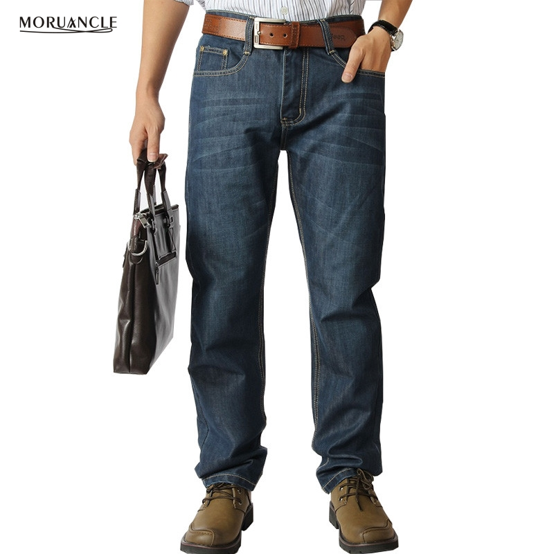 MORUANCLE Men's Full Length Retro Jeans Pants Solid Casual Denim Joggers Straight Fitness Male Baggy Loose Trousers Size 32-52