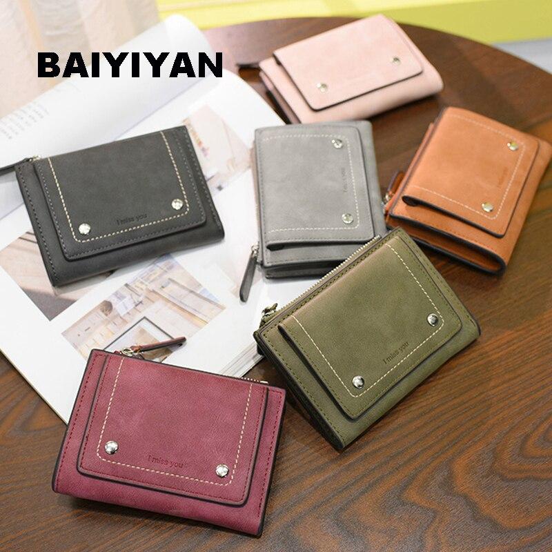BAIYIYAN 2018 High Quality PU leather Fashion Cute Fold Zipper Women Short Wallet Female Purse Card Holder