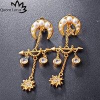 לוטוס מלכת ירח תכשיטים 2017 נשים רטרו הבארוק אופנה מצופה זהב זירקון פרל טאסל גבירותיי עגיל מפלגה מתנות הילדה