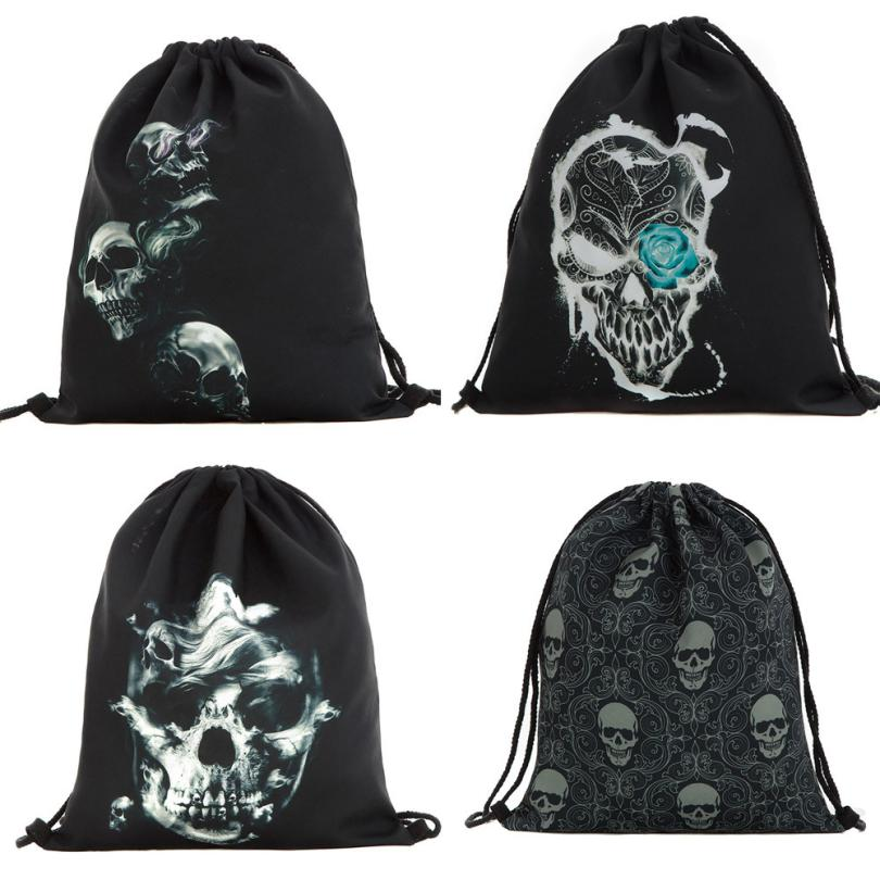 ISHOWTIENDA Drawstring Bag Multicolors Backpacks Halloween Candy Gift Bag Bundle Pocket 3D Printing Drawstring Backpack Bolso
