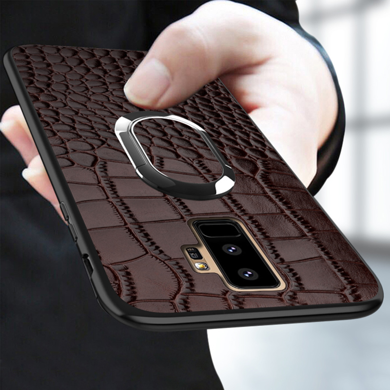 Real leather Case For Samsung a50 a70 a40 a30 a8 a7 2018 Luxury Magnetic Kickstand back cover For Galaxy s10 s9 s8 s7 Plus Retro