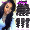 Grace Beauty BLING Virgin Brazilian Human Hair Body Wave Weave 4 Bundles With 4x4 Inches Free/2/3Part Lace Closure Natural Color