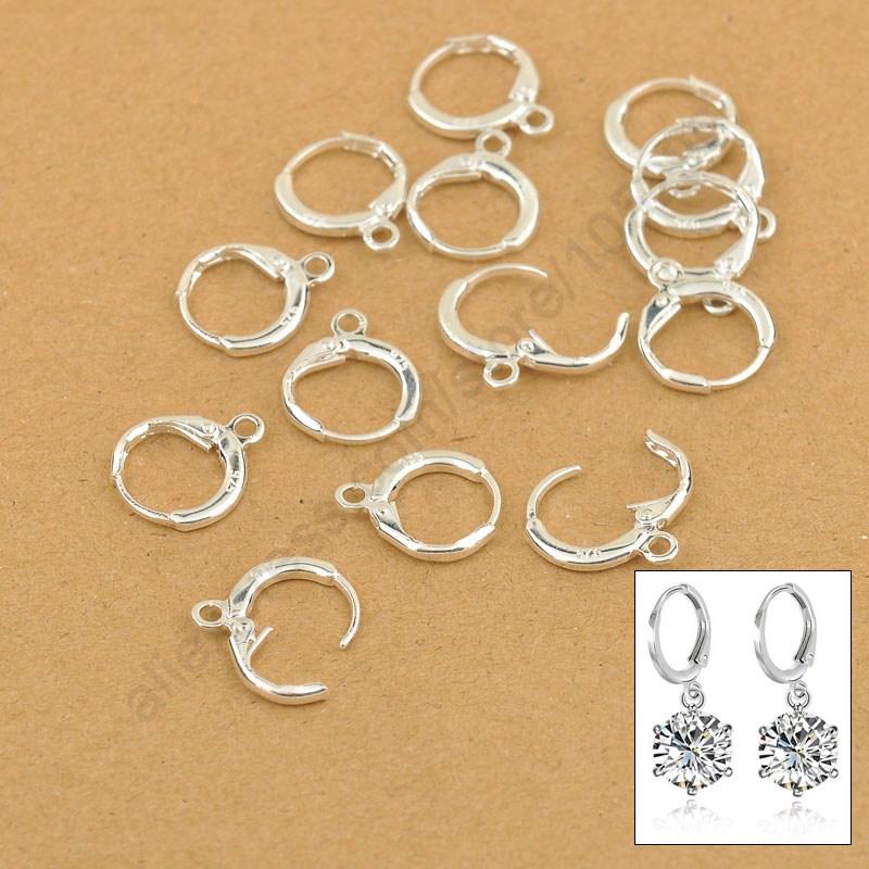 Wholesale Handmade Jewelry Findings Genuine 925 Sterling Silver Lever Back Ear DIY Drop Earring 13MM Hoop DIY Settings