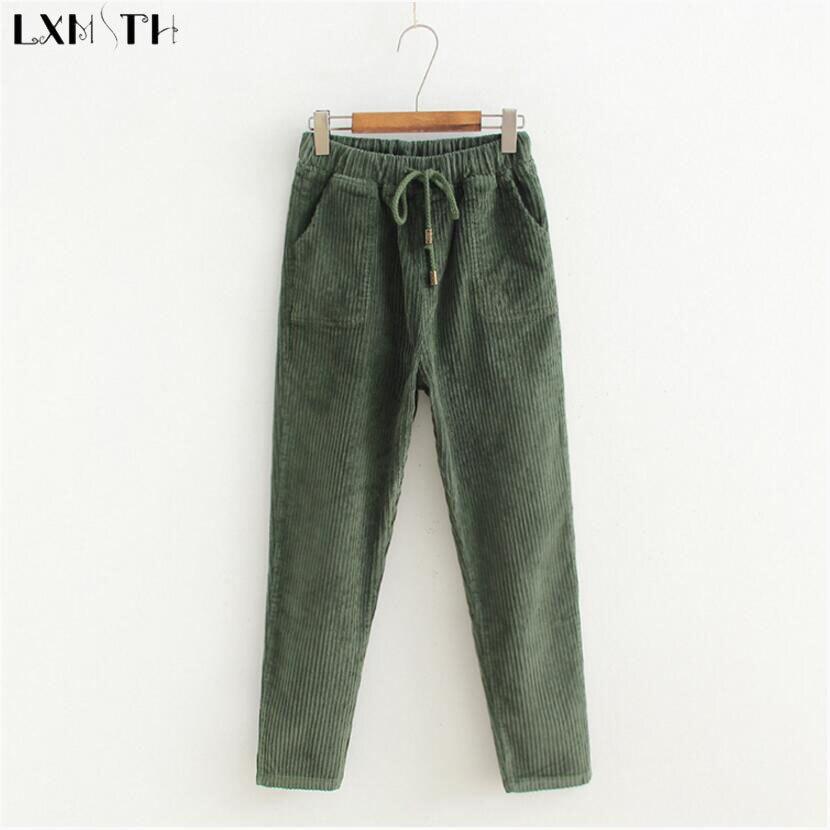 Super LXMSTH Coreano Elastico In Vita Con Coulisse Pantaloni di Velluto  JZ17