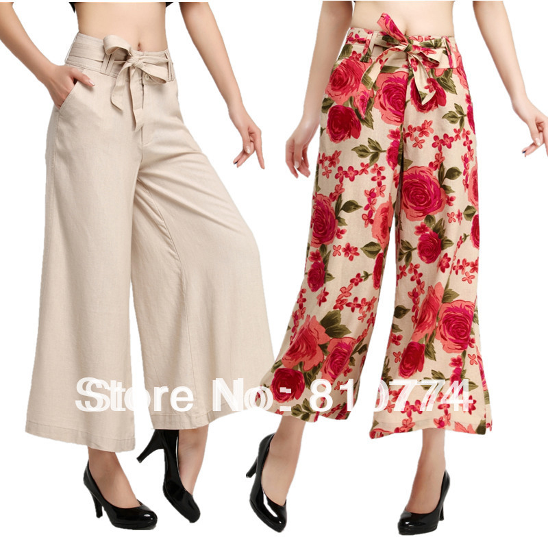 2017 beautiful high quality female linen wide leg pants print