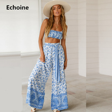 Woman Spaghetti Strap Crop Top and Pants Set 2 Piece Set Floral Print Wide Leg Pants Set Elegant Beach Wear Slim Sexy Outfit spaghetti strap floral print ruched bikini set