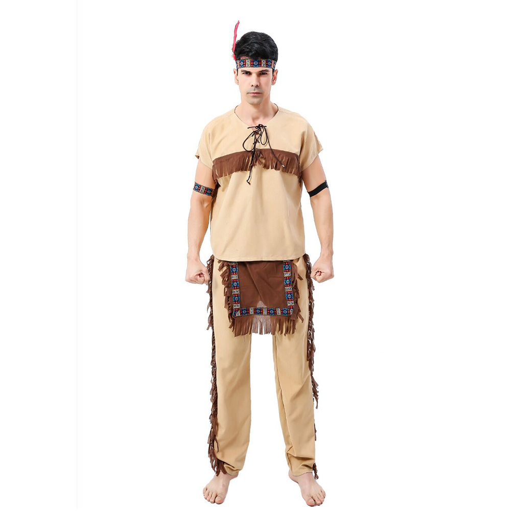men indian costume native primitive tribe costume cosplay outfits