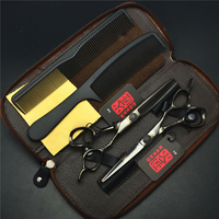 4Pcs Suit 6 Black KASHO Professional Human Hair Scissors Hairdressing Combs Cutting Thinning Shears Hair Styling