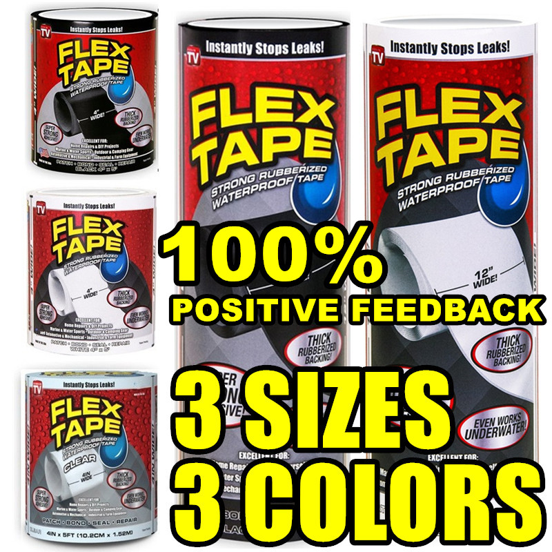 """New 4"""" 8"""" 12"""" Wide Flex Tape Strong Rubberized Waterproof Tape Hose Repair Connectors"""
