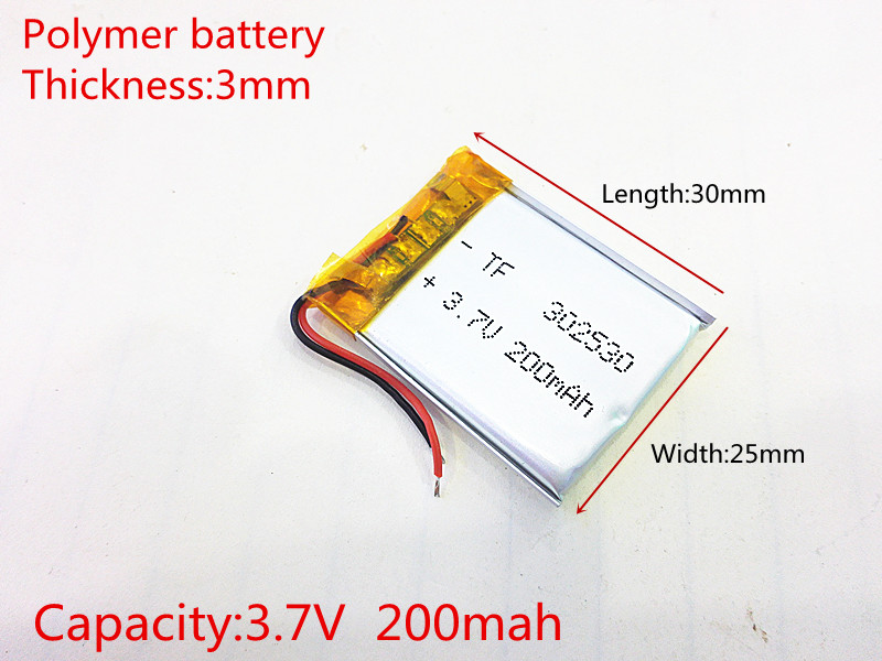 302530 3.7V 200mah Lithium polymer Battery with Protection Board For MP4 Digital Products Free Shipping 1pcs free shipping lipo battery 3 7v 200mah 20c helicopter x4 x11 x13 high endurance high precision low voltage protection board