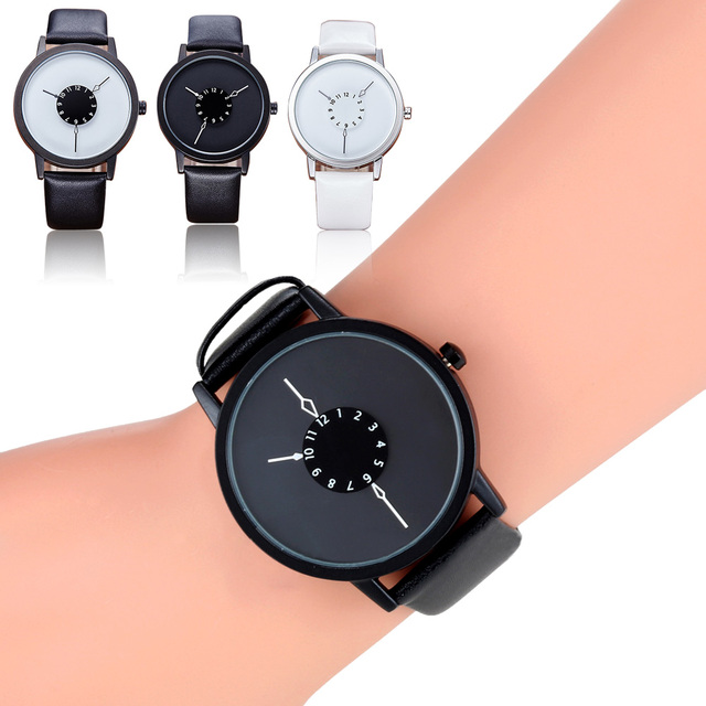 New Dial Design Unisex Watches Women Man Fashion PU Leather Casual Wristwatch Simple Lovers Quartz Watch  LXH
