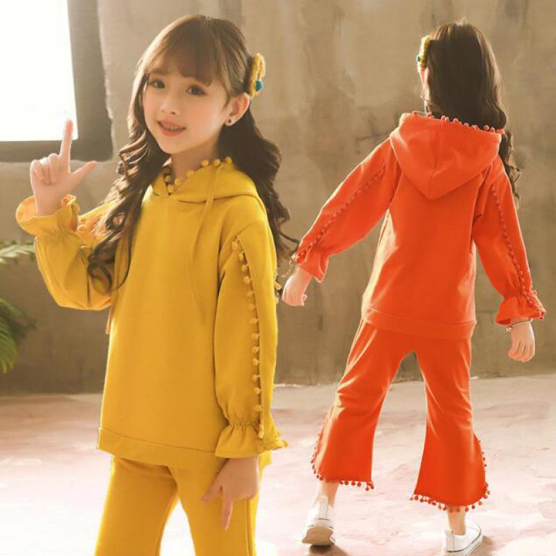 2018 Autumn Childrens Tracksuit Set Toddler Girls Clothes 10 12 14 Year Sports Suit Kids Clothing Sets Hooded Sweatshirts +Pants tracksuit girls sports suits fashion toddler girl clothing sets 2018 spring autumn sequin outfit clothes size 4 6 12 14 year
